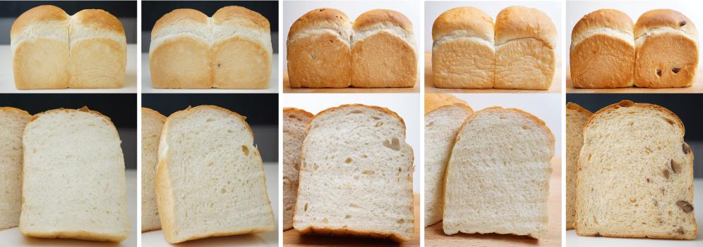 ヨーグルト食パン, 柚子食パン, アップルセーグル食パン, はちみつ食パン, キャラメルマロン食パンの写真